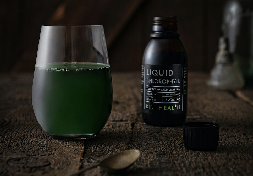 Chlorophyll water in a glass
